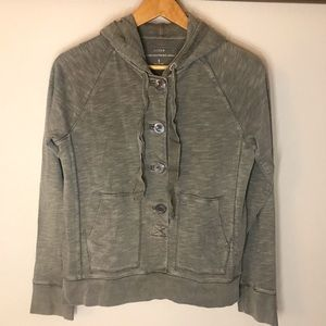 J.CREW Gray Washed Heavyweight Jersey with Hoodie
